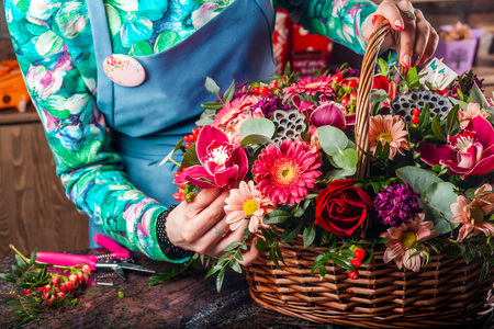 eco flowers basket: Basket of flowers. A stunning beautiful bouquet of flowers.Chrysanthemum, lotus, rose, orchid, daisy