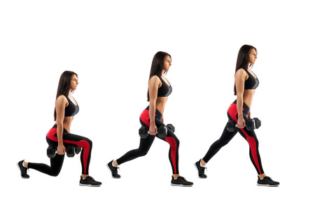 Technique exercises for the buttocks with dumbbells in hands on a white isolated background, sports woman, right side