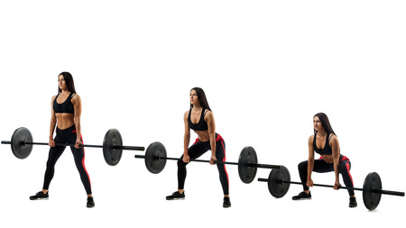 Stages of exercise deadlift with a barbell, executed by a sporty woman on a white isolated background