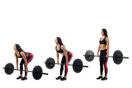 Technika wykonywania ćwiczenia martwego ciągu ze sztangą młodej sportowej dziewczyny na białym tle, trzy pozycje