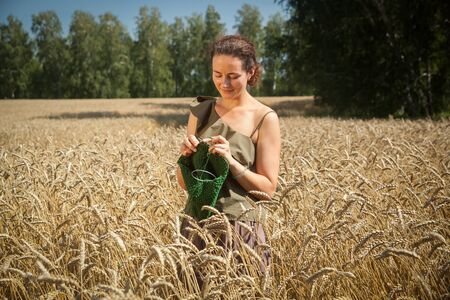 A dark-haired young woman in a green romantic top knits with knitting needles from a natural woolen thread of a green sweater in a wheat field on a summer day, in the background a green forest Stock Photo