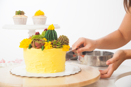a close-up of a confectioner cuts a yellow colored homemade cake with bicqwits, a stuffing of currant and cheese, garnished with green ornaments and cacti, in the background of a capcake