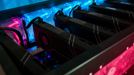 Close-up graphic card of computer working for bitcoin mining