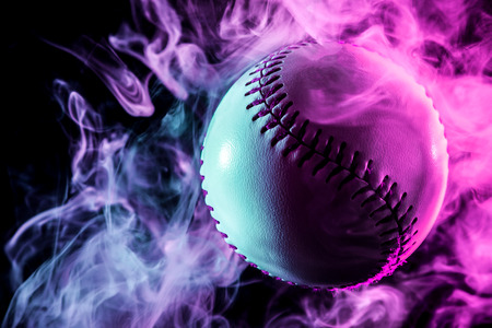 Colorful baseball ball in multi-colored red smoke from a vape on a black isolated background