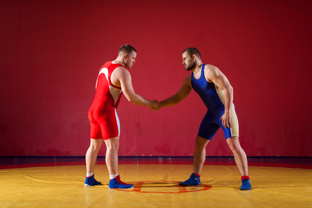 Two greco-roman  wrestlers in red and blue uniform shake hands before each other  on a yellow wrestling carpet in the gym