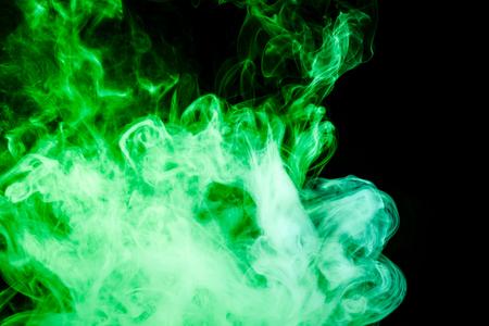 Green  smoke on black background Stock Photo