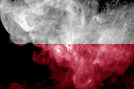 National flag of Poland from thick colored smoke on a black isolated background