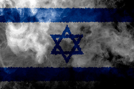 National flag of Israel from thick colored smoke on a black isolated background