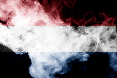 National flag of Netherlands from thick colored smoke on a black isolated background