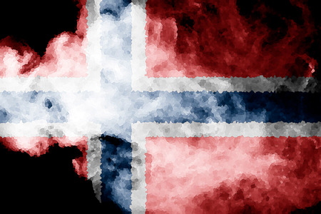 National flag of Norway from thick colored smoke on a black isolated background