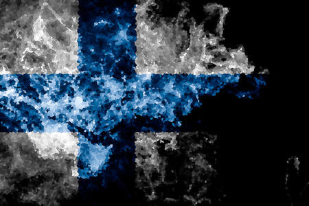 National flag of Finland from thick colored smoke on a black isolated background