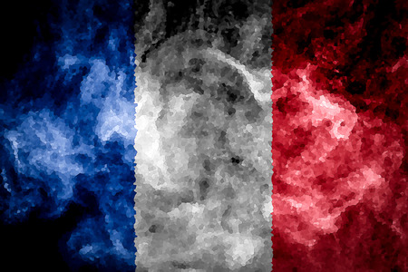 National flag of France from thick colored smoke on a black isolated background
