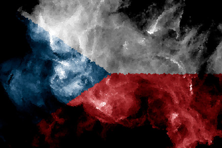 National flag of Czech Republic from thick colored smoke on a black isolated background Stock Photo