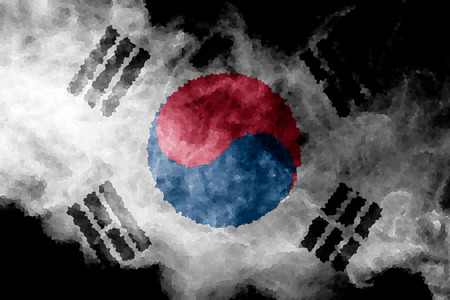 National flag of South Korea  from thick colored smoke on a black isolated background