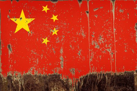 National flag of China on rusty metal texture