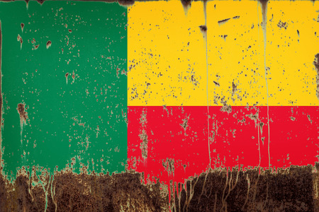 National flag of Benin on rusty metal texture