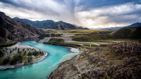 Panoramic view of the mountain river  with island near ALtai, Russia.  Mountain river stream landscape