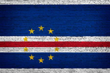 National flag of Cape Verde  on a brick background Stock Photo