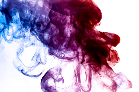 Blue, purple and pink  smoke on white background
