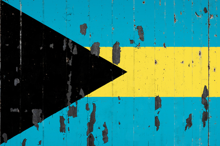 National flag of BAhamas on the background of an old mettale covered with peeling paint Stock fotó