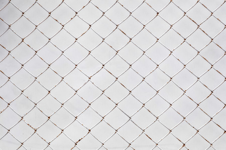 Close-up white wall covered with mellaic grating. Texture cage metal net  on  isolate on white background with clipping path Stock Photo