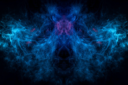 Mocap for cool t-shirts . Thick colorful blue smoke  in the form of a monster on a black isolated background. Background from the smoke of vape.