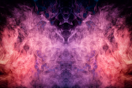 Purple, pink, blue cloud isolated on black background,Textured Smoke,brush effect.
