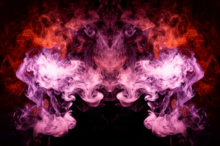 Fantasy print for clothes: t-shirts, sweatshirts. Pink and red cloud of smoke in the form of a monster  of  black isolated background. Background from the smoke of vape.