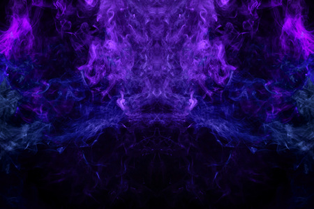 Fantasy print for clothes: t-shirts, sweatshirts.  Colorful purple and pink smoke in the form of a skull, monster, dragon on a black isolated background. Background from the smoke of vape