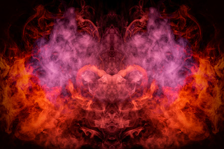 Fantasy print for clothes: t-shirts, sweatshirts. Red cloud of smoke in the form of a monster  of  black isolated background. Background from the smoke of vape.