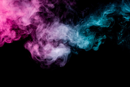 Textural background for creativity. Pink and blue cloud of smoke of  black isolated background. Background from the smoke of vape