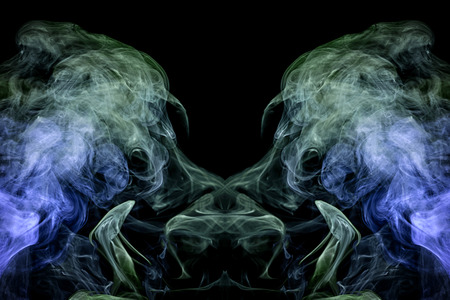 Fantasy print for clothes: t-shirts, sweatshirts.  Colorful green and blue smoke in the form of a skull, monster, dragon on a black isolated background. Background from the smoke of vape Foto de archivo