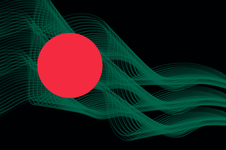 Bangladesh national flag of neon glowing intersecting lines on black isolated background