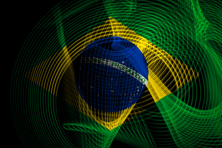 The national flag of Brazil on the background neon geometric stripes