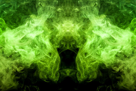 Fantasy print for clothes: t-shirts, sweatshirts.  Colorful green smoke in the form of a skull, monster, dragon on a black isolated background. Background from the smoke of vape Foto de archivo