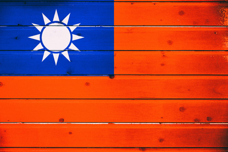 National flag of Taiwan on a  wooden background
