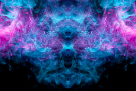 Mocap for cool t-shirts. Thick colorful blue and pink smoke  in the form of a monster on a black isolated background. Background from the smoke of vape.  Stock fotó