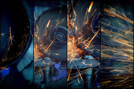 A collage of four photos: a close-up the welder cuts the metal with an angle grinder, the sparks from cutting fly in different directions. Фото со стока