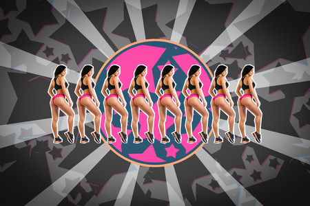 Dark-haired young woman fitness model in pink sports top and black shorts demonstrates her figure on a bright pop art star gray background in the music style.Sports concept on topic Zine culture. Banco de Imagens - 116762119