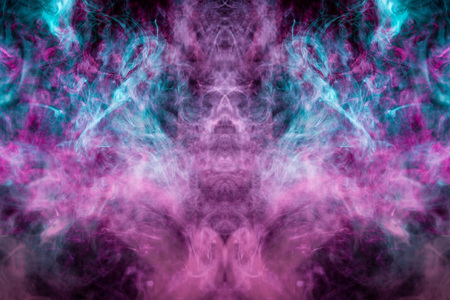 Mocap for cool t-shirts. Thick colorful blue and pink smoke  in the form of a monster on a black isolated background. Background from the smoke of vape.