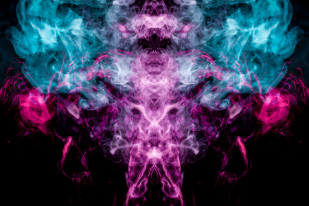 Thick colorful smoke of blue and pink  in the form of a skull, monster, dragon on a black isolated background. Background from the smoke of vape. Mocap for cool t-shirts