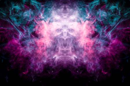 Pink and blue cloud of smoke of  black isolated background in the form of a skull, monster, dragon on a black isolated background. Mocap for cool t-shirts Stock Photo