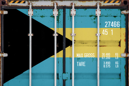 Close-up of the container with the national flag of Bahamas. The concept of Bahamas export-import and national delivery of goods. Stock fotó