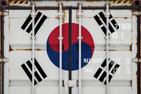Close-up of the container with the national flag of South Korea. The concept of South Korea  export-import and national delivery of goods.