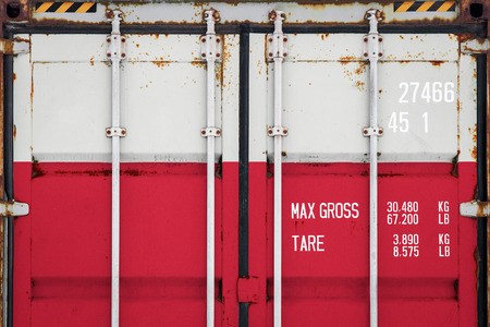 Close-up of the container with the national flag of Poland. The concept of f Poland  export-import and national delivery of goods.