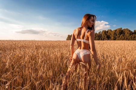 Mujer delgada joven en ropa interior blanca posando contra un campo de trigo en un cálido día de verano contra un cielo azul. Retrato de una bella mujer libre en la naturaleza Foto de archivo