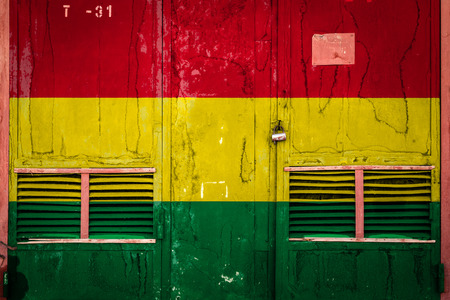 Close-up of old warehouse gate with national flag of Bolivia. Concept of Bolivia export-import, storage of goods and national delivery of goods. Flag in grunge style