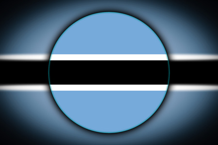 The national flag of Botswana in the form of a round button with the reflection of light and shadow. Flag in the shape of a circle. Country icon. Standard-Bild - 120337259