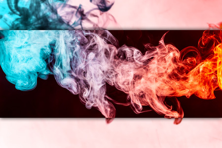Abstract Art Colored Red And Blue Smoke On Black Isolated Background