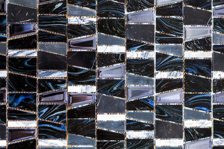 Black and white colored mosaic background tiles. Close up cleaning black and white mosaic tiles shower wall texture background Stok Fotoğraf